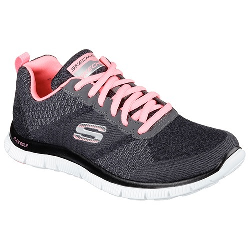 Skechers Flex Appeal Simply Sweet In Charcoal Pink Womens